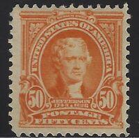 US Stamps - Scott # 310 - 50c Jefferson - Mint OG Light Hinged   $425    (A-438)