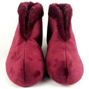 Womens Dearfoams Bootie Slippers Burgundy Velour Faux Fur Christmas Size M 7-8