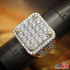 Mens Yellow Gold Finish .925 Silver Simulated Diamond Ring PInky Square Size 11