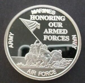 HONORING OUR ARMED FORCES, ONE TROY OUNCE .999 FINE SILVER