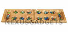 Mancala Game Set Wooden Folding Hinged Board Clear Glass Gemstone Pieces Kids FS