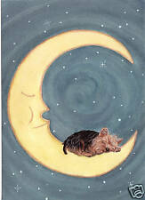 Yorkshire Terrier (Yorkie) sleeping on the moon / Lynch signed folk art print