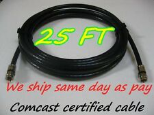 25FT RG-6 COAX BLACK CABLE JUMPER RG6  FITTINGS COAXIAL TV SATELLITE Home Room
