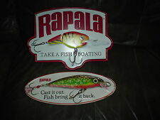 Lot 0F 2 Large Rapala Take A Fish Boating Embossed Advertisment Metal Sign