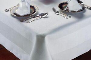 Egyptian 100% Cotton TABLECLOTH Damask Satin Band Fine Table Linen Cloth Cover