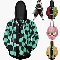 Cool Demon Slayer Kimetsu no Yaiba Tomioka Giyuu Nezoko Hoodie Jacket Zip Up New