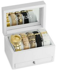 NEW GUESS GOLD,CRYSTALS,5 PC SET+BANDS,BRACELET WATCH+JEWELRY BOX-U0713L2