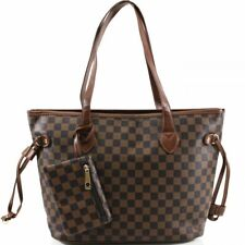 Womens Faux Leather Designer Inspired Checked Shoulder Bag Tote Fashion Handbag