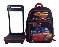 """Disney Cars Black Rolling Backpack Large School Back Pack Backpack 16"""" for Kids"""