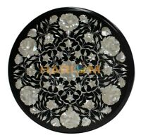 "20"" Marble Black Coffee Table Top Mother of Pearl Floral Marquetry Inlay B214A"