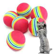 6X Small Play Ball Colorful Dog Pet Cat Kitten Soft Foam Rainbow Activity Toy UK