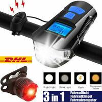 LED Fahrradlampe Odometer USB Akku Radlicht Fahrradlicht Vorne Hinten Lampe+Horn