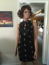 Lovely Possessed Black & White Floral Printed Fancy Asian Dress, Approx XS
