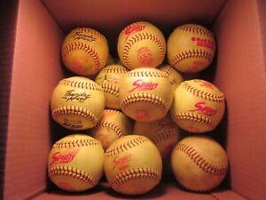 "Lot of (22) Used Yellow Green 12"" Softballs (#1)"