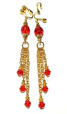 GOLD RED TASSLE CLIP-ON EARRINGS statement unique vintage gypsy prom chic style
