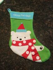"""Target Happy Holidays Polar Bear With Scarf And Hat Stocking 14"""""""