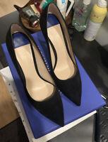 Stuart Weitzman The LEIGH 95 Black Suede Heels Pumps 36.5 6.5 NIB Brand New