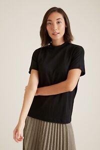 SEED HERITAGE 'Mock Neck Linen Top' Black T-shirt SIZE XL - RRP $60 - BNWT