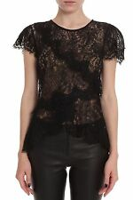 ISABEL MARANT BLACK MILO LACE TOP FR 36 UK 8
