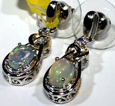 Ethiopian Welo Opal, Tanzanite  Earrings Platinum Overl Sterling Silver 1.62 Cts