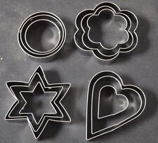 12 PC ASSORTED SHAPES COOKIE CUTTERS - COOKING BAKING HEART START FLOWER CIRCLE