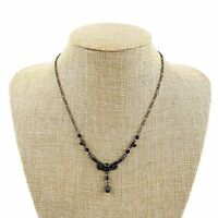 Vtg Delicate Black Rhinestone Faceted Drop Beaded Pendant Necklace Art Deco