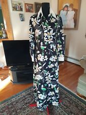Vintage 70s Retro Black green whiteFloral long sleeve Maxi Long Dress 10