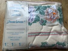 Dream Waves 3 piece Twin Sheet Set Cotton Blend Flowers Roses Leaves No Iron New
