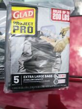 LOT of 3 Packs Of 5 GLAD Project Pro 45 Gallon Extra Large 3 Mil Trash Bags