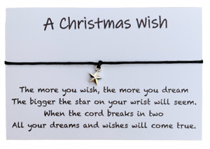 A Christmas Wish Bracelet, Xmas Eve Gift, Stocking Fillers For Her Him Kids