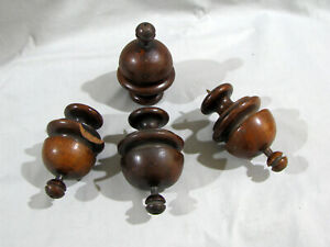 """4 Antique TURNED WOOD FINIALS - 4 1/4"""" - 1 HAS CHIPS"""
