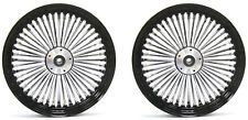 "FAT SPOKE 16"" FRONT/REAR WHEEL SET BLACK HARLEY ELECTRA GLIDE ROAD KING STREET"