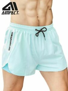 Men 2in1 Running Shorts Athletic Gym Fitness Quick Dry Swim Sports Trunks Boxers