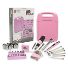 ProShop Tools 55 pc Toolbox Household Home Repair Set Hand Tool Kit Box Pink