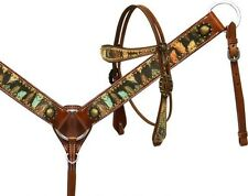 Showman Leather Bridle & Breast Collar Set w/ Feather Print!! NEW HORSE TACK!