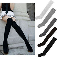 Solid Girls Women Ladies Long Cotton Stockings Thigh High Over The Knee Socks