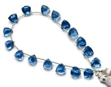 Blue Sapphire Color Hydro Quartz Faceted 7 to 8MM Trillion Shape Briolette Beads