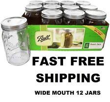Ball 32 Oz Wide Mouth Canning Mason Jar Lids Bands Clear Glass Quart Jars 12 Box