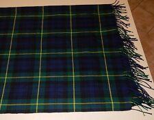 Lochcarron Of Scotland Dress Scarf Plaid Cashmere Blend Navy Hunter Green LARGE