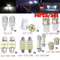 14Pcs LED Light Interior Package Map Dome License Plate Indicator Bulb Lamp Kit