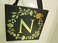 "Initial ""N"" Black and Gold Wood Plaque, NEW"