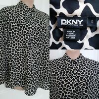 DKNY Donna Karan New York Size L Silk Blend Black Splodge Pattern Blouse Shirt