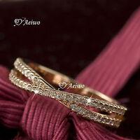 18K ROSE WHITE GOLD GF MADE WITH SWAROVSKI CRYSTAL WEDDING BAND ENGAGEMENT RING