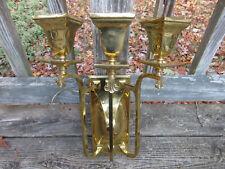 Antique Signed 3-light Brass Sconce Lamp PART *Highly Polished*