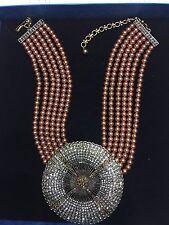 Heidi Daus Belgium Disc chocolate 6 Strand Necklace SWAROVSKI MAGNIFICENT COLOR!