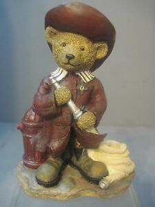 RESIN FIGURE BEAR FIREFIGHTER WITH HYDRANT AND HOSE BLUE SKY CREATIONS