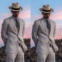 Gray Linen Mens Wedding Suits 2019 Summer Beach Groom Tuxedos Slim Fit 3Pieces