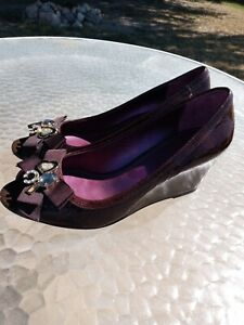 COACH Poppy Black Patent Leather  Wedge Size 8.5