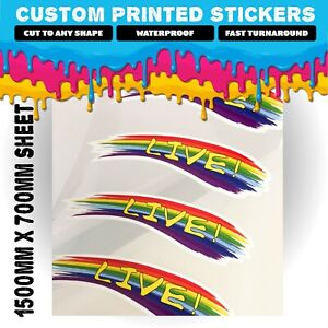 Large Custom Sheet of Stickers   Your Artwork Logo   Waterproof Product Labels