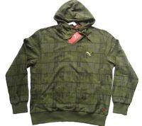 PUMA Sweatshirt mit Kapuze GRAPHIC HOODED SWEAT Oliv gemustert Gr. S
